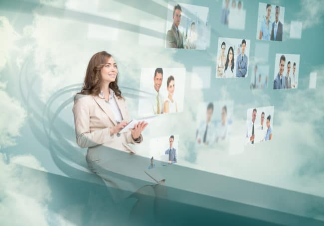 Woman looking at visual candidates on her projected screen